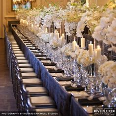 White and Silver gorgeous wedding tablescape