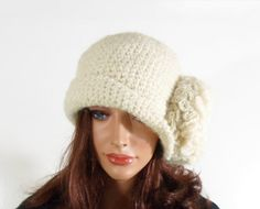 Crochet Cloche Hat with Large Flower  by UnlimitedCraftworks