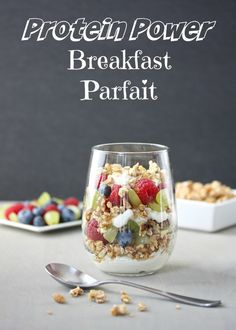 Protein Power Breakfast Parfait | Start your day with this parfait, packed with nearly 20 grams of protein. Made with low-fat cottage cheese, fresh fruit, high-pro cereal, and walnuts | Power breakfast | via @MealMakeoverMom .