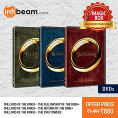 The Lord Of The Rings (DVD Box Set) at Lowest Rate from Infibeam's MagicBox !   Assuring Lowest Price in Magic Box Deals !    HURRY OFFER VALID FOR TODAY ONLY !! #MagicBox #Deals #DealOfTheDay #Offer #Discount #LowestRates #LordOfTheRings #Movie #DVD #BoxSet #Entertainment