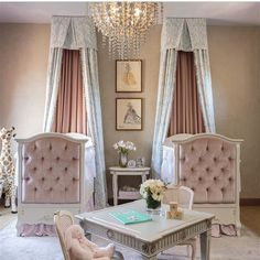 Our Tufted Upholstered Panel Cribs make this twins nursery a dreamy fairytale.