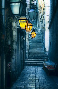 This almost doesn't look real. I guess I'll just have to go and see for myself! -- Blue backstreets of Dubrovnik, Croatia