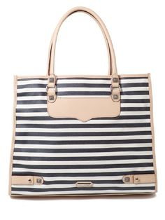 "Rebecca Minkoff Striped Diamond Tote    Canvas with genuine leather trim  Custom silver hardware  15.5"" wide x 13"" tall x 6"" deep (fully expanded)  7"" drop leather handles fit comfortably over the shoulder  Top opening secured with leather strap closure and magnetic snap.  Blue polka dot lining. (dust bag not included)    Was $195, NOW $107~"