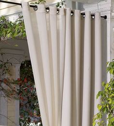 Curtain rods to hang sheer curtain panels under pergola. How To Make Curtains, Curtain Rods, Porch Enclosures, Outdoor Drapes, Hot Tub Privacy, Outdoor Curtains, Curtains, Diy Pergola, Porch Decorating