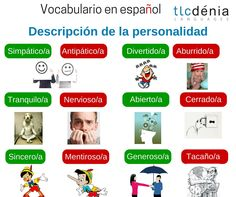 Adjetivos para describir la personalidad en español. Spanish vocabulary: adjectives to describe the personality. #ELE #Spanish #español
