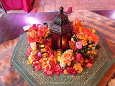 Octagonal green table from Art of Old India; Flowers by Blush and Bashful