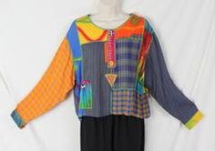 Faith Brand Blouse S size Mixed Fabric Art Wear Top Hippy Boho Festival Shirt - Jamies Closet - 2