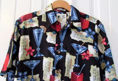 Men's Hawaiian Shirt New Tropical Cocktails Recipes Flowers Reverse Print Small #MESport #ButtonFront
