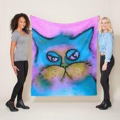Bored Cat Watercolor Fleece Blanket - cat cats kitten kitty pet love pussy