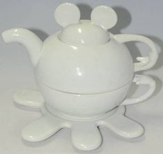 Mickey-Mouse-4-Piece-Nesting-Teapot-White-Displayed-but-Never-Used-Cute