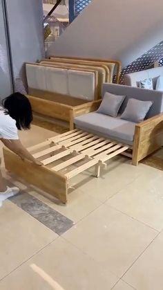 Diy Furniture Couch, Space Saving Furniture, Furniture For Small Spaces, Furniture Plans, Furniture Design, Room Design Bedroom, Home Room Design, Home Interior Design, Sofa Cama Individual