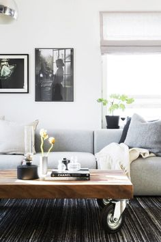 Minimal living space with a gray sofa and a low coffee table