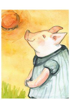 Porcinet heureux soleil Large print-enfants art par amberalexander