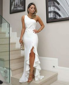 White One Shoulder Prom Dress, Split Pleat Satin Mermaid Prom Dresses, Wedding Party Dresses, Evening Party Gowns, 380 · Loveprom · Online Store Powered by Storenvy Formal Dresses For Women, Elegant Dresses, Formal Dresses For Weddings, Dress Formal, White Formal Dresses, Elegant White Dress, Beautiful Dresses For Women, Formal Prom, Classy Dress