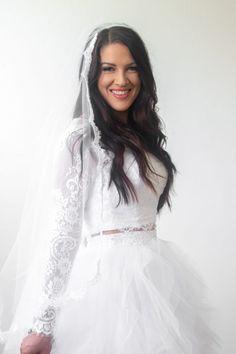 SUMMERTIME CITRUS WEDDING IDEAS | Bespoke-Bride: Wedding Blog Wedding Blog, Wedding Ideas, Two Piece Gown, Bridesmaid Dresses, Wedding Dresses, Dress To Impress, Summer Wedding, Floral Arrangements, Bespoke