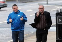 father & son john murray senior & junior arriving at hamiton sheriif court,scotland,charges of badger baiting..