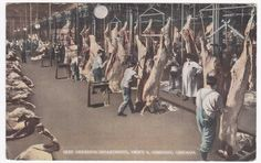 Chicago IL Beef Dressing Department Swift & co 1925 Colored Postcard | eBay