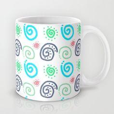 Swirls Are Alright {green grey blue white} Mug