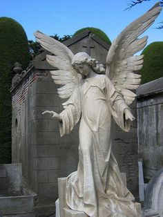 Angel statue by Ryan Greenberg, Uplifted wings seem to imply a lofty expression of hopefulness. Cemetery Angels, Cemetery Statues, Cemetery Art, Angels Among Us, Angels And Demons, Statue Ange, I Believe In Angels, Angels In Heaven, Guardian Angels