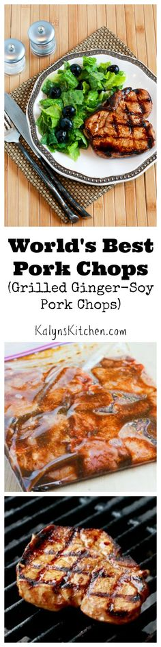 Back in the days when I organized catered houseboat trips, a Lake Powell client called these Grilled Ginger-Soy Pork Chops the World's Best Pork Chops! This recipe is perfect for any special occasion (Whole 30 Recipes Bbq) Best Pork Chop Recipe, Pork Chop Recipes, Grilling Recipes, Meat Recipes, Low Carb Recipes, Dinner Recipes, Cooking Recipes, Healthy Recipes, Lamb Recipes