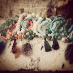www.etsy.com/shop/indilly  Mix bracelet by Indilly  Natural jewelry. Aventurine , corail, howlite and turquoise bracelets