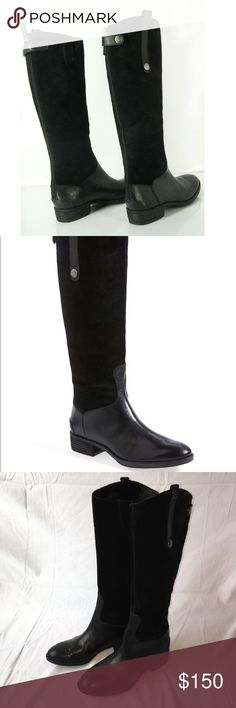 """Sam Edelman Pembrooke Black Leather An Authentic pair of Women's Sam Edelman Pembrooke black suede and leather riding Boots. Burnished leather trim provides refined contrast to the soft suede shaft of an essential knee-high boot with equestrian influences. • 1"""" heel  • 16 3/4"""" boot shaft; 14 3/4"""" calf circumference.  • Burnished leathers feature a rich, unique finish and will vary.  • Back zip with snap-tab closure.  • Elastic gore at top of boot shaft.  • Leather and suede upper/synthetic…"""