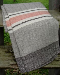 Available to Ship Friday, April 18, 2014  Merino Wool Blanket Hand Woven by Dianne Nordt