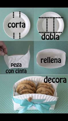 DIY cookie basket made from a paper plate - Clever home-made gift basket for baked goodies! -easy DIY cookie basket made from a paper plate - Clever home-made gift basket for baked goodies! Cookie Baskets, Food Baskets, Cheap Baskets, Making Baskets, Diy Gift Baskets, Ideias Diy, How To Make Paper, Paper Plates, Paper Plate Basket
