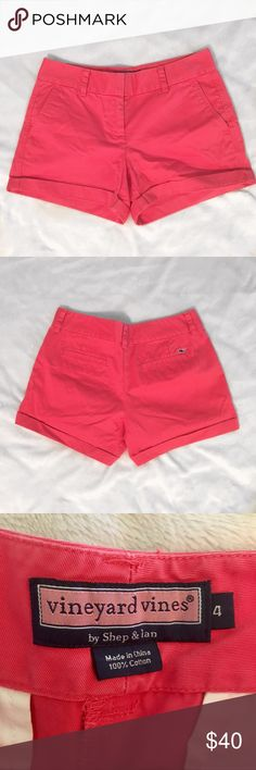 Vineyard Vines red shorts Vineyard Vines red shorts in good condition!! Only one flaw- there's a button missing on the front.. (pictured) the bottom part can be rolled down to make them a little bit longer. Rolled up: 4 inch inseam. Rolled down: 5 inch inseam. ASK QUESTIONS😊 Vineyard Vines Shorts