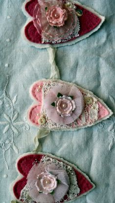 shabby heart felt garland by Banndit1