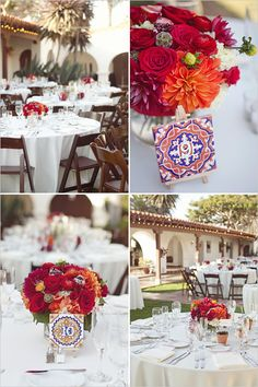 I like the white tableclothes/napkins with the splash of color coming from the centerpiece