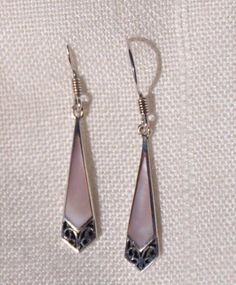 PRETTY STERLING SILVER BOMA PINK MOTHER OF PEARL DANGLE EARRINGS, PIERCED, 925 #Boma #DropDangle