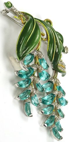 Trifari 'Alfred Philippe' Pave Enamel and Aquamarine Demilunes Double Pendants Wisteria Pin ~