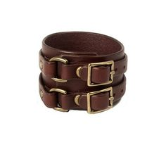 Double Buckle Cuff - Oxblood with Antique Brass finish