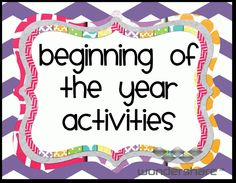 Beginning of the Year Activities by Ms. Third Grade (could be used for other grades!)