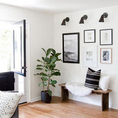 modern rustic living room makeover // before & after // sarah sherman samuel - Home Decor Ideas Design Room, Home Design, Design Ideas, Modern Farmhouse Living Room Decor, Coastal Living Rooms, Rustic Farmhouse, Rustic Chic, Modern Entryway, Entryway Bench