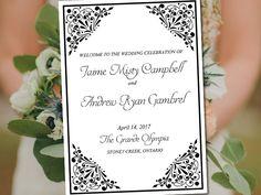 "Fold Over Wedding Program Template Download ""Madison"" Black Program Order of Service Half Fold Program Printable by PaintTheDayDesigns on Etsy"