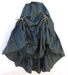 Steampunk Victorian Renaissance Pirate Costume Blue Bronz Striped Gathered Skirt #Kashi #Skirt