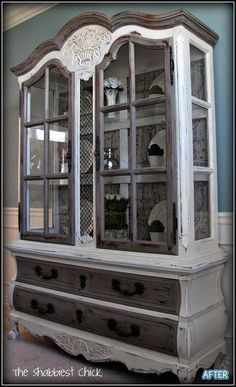 Now THIS is the way to re~make an old/outdated china cabinet!  AWESOME furniture redo - from plain old boring wood - great for a variety of decorating styles and a real eye-catcher - from Better After: Grunge Fashion - #ShabbyChic #furniture #refinish #DIY #homedecor tå√