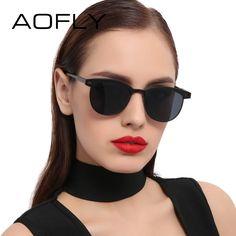 Barato AOFLY Moda Senhora Óculos de Sol Metade Armação de Metal óculos de  Sol para As 5090fc7f9c