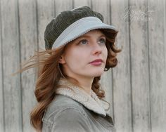 Patchwork Newsboy Hat in Grey and Green by GreenTrunkDesigns