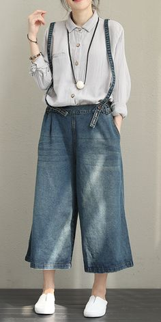 NUOVA primavera 2019 Donna Lagenlook Italian Cotone Comode Denim Stampa Bottoms Pantaloni