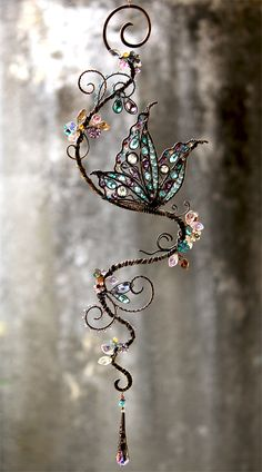 Butterfly Gemstone and Swarovski Crystal Suncatcher made by Cathy Heery from Intrinsic Designs