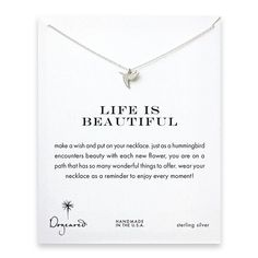 Dogeared 925 Sterling Silver Life Is Beautiful Sweet Hummingbird Necklace of Length 40.64 cm with 5 cm Extender * You can find more details by visiting the image link. #Necklaces