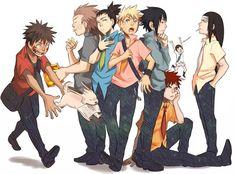 Kiba, Chouji, Shikamaru, Naruto, Sasuke, Gaara, Rock Lee, and Neji