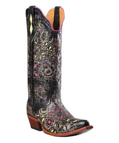 Look at this Johnny Ringo Boots Barn Black Floral Embroidered T-Toe Leather Western Boot on #zulily today!