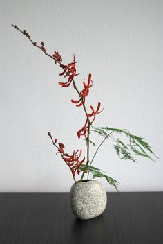 Ikebana 'Red orchid' - first attempt