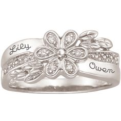 Sterling Silver Couples Flower Ring with Diamond Accents by ArtCarved® (2 Names)