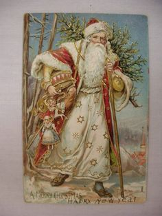 Postcard Santa Delivering Toys