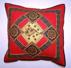 Hand printed Indian cushion cover - Floral print | eBay
